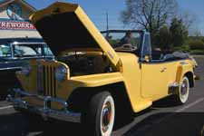 Photo shows grille and front end of a 1948 Willys Overland Jeepster Sports Phaeton