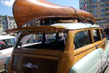 Classic 1951 Buick Estate Wagon with a 1928 Willits Brothers all wood canoe on the roof rack
