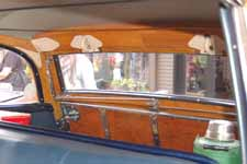 Close-up photo of 1951 Buick Super Estate Wagon interior, shows backside of all wood tailgate