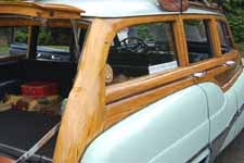 Detail photo of original white ash wood body on a 1951 Buick Super Estate Wagon
