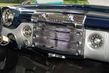 Beautiful dash with original AM radio and loads of chrome trim on a 1951 Buick Super Estate Wagon