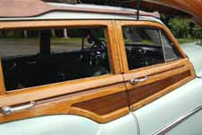 Beautifully re-varnished original white ash and mahogany woodwork on a 1951 Buick Super Estate Wagon woodie
