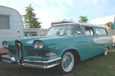 Photo of the unique Edsel vertical horsecollar front grille on a rare 1958 Ford Edsel Station Wagon