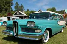 Restored 1958 Edsel Roundup 2 door station wagon with turquoise and white exterior paint scheme