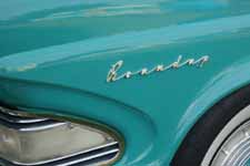 Close-up photo of rare chrome Roundup script on the front fender of a 1958 Edsel Roundup Station Wagon