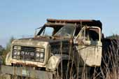 Old GMC dump truck abandoned in classic car wrecking yard