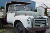 Nice original 1950's GMC truck in storage at classic car salvage lot